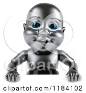 Clipart Of A 3d Metal Baby Robot Over A Sign Royalty Free CGI Illustration by Julos