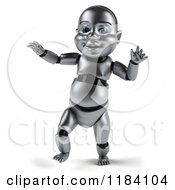 Clipart Of A 3d Metal Baby Robot Walking Royalty Free CGI Illustration