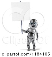 Clipart Of A 3d Metal Baby Robot Holding A Sign Royalty Free CGI Illustration