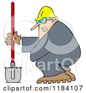 Grinning Chubby Worker Man With A Helmet Goggles And Shovel