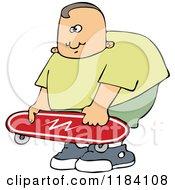 Cartoon Of A Chubby Caucasian Boy Holding A Skateboard Royalty Free Vector Clipart by djart