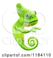 Cartoon Of A Green Chameleon Pointing To A Sign Royalty Free Vector Clipart by AtStockIllustration
