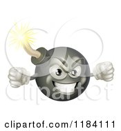Cartoon Of A Furious Bomb Mascot Holding Up Fists Royalty Free Vector Clipart by AtStockIllustration