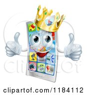 Cartoon Of A Happy Crowned Cell Phone Mascot Holding Two Thumbs Up Royalty Free Vector Clipart