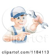 Poster, Art Print Of Happy Worker Man Holding A Wrench And Pointing