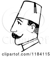 Clipart Of A Retro Vintage Black And White Guard Man In Profile Royalty Free Vector Illustration