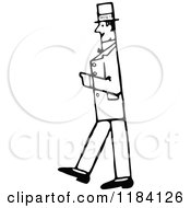 Clipart Of A Retro Vintage Black And White Gentleman Walking In Profile Royalty Free Vector Illustration by Prawny Vintage