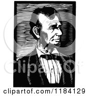 Clipart Of A Retro Vintage Black And White Abraham Lincoln Portrait Royalty Free Vector Illustration