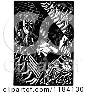 Clipart Of A Retro Vintage Black And White Abstract Abraham Lincoln Portrait Royalty Free Vector Illustration