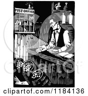 Clipart Of Retro Vintage Black And White Abraham Lincoln Working At His General Store Royalty Free Vector Illustration