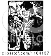 Clipart Of Retro Vintage Black And White Abraham Lincoln Campaigning 2 Royalty Free Vector Illustration