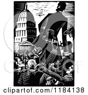 Clipart Of Retro Vintage Black And White Abraham Lincoln Campaigning Royalty Free Vector Illustration