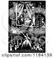 Clipart Of A Retro Vintage Black And White Skeleton Behind Abraham Lincoln At The Theater Royalty Free Vector Illustration