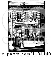 Clipart Of Retro Vintage Black And White Abraham Lincoln And Stuart Attorney Building Royalty Free Vector Illustration