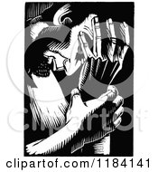 Clipart Of Retro Vintage Black And White Abraham Lincoln Deliberating Royalty Free Vector Illustration