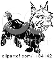 Clipart Of A Black And White Terrier Dog 2 Royalty Free Vector Illustration by Prawny Vintage