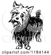 Clipart Of A Black And White Terrier Dog Royalty Free Vector Illustration by Prawny Vintage