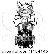 Clipart Of A Black And White Terrier Dog Begging Royalty Free Vector Illustration