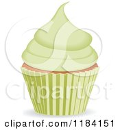Clipart Of A Cupcake With Green Frosting Royalty Free Vector Illustration by elaineitalia