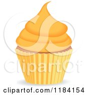 Clipart Of A Cupcake With Orange Frosting Royalty Free Vector Illustration