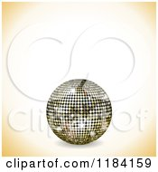 Clipart Of A 3d Gold Disco Ball And Shaded Corners With Copyspace Royalty Free Vector Illustration