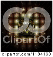 Clipart Of A 3d Golden Disco Ball With A Burst Royalty Free Vector Illustration