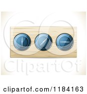 Clipart Of A 3d Wood Panel With Dials On Shading Royalty Free Vector Illustration