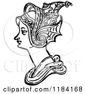 Clipart Of A Retro Vintage Black And White Medieval Woman And Headdress 8 Royalty Free Vector Illustration