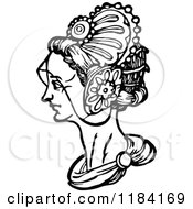 Clipart Of A Retro Vintage Black And White Medieval Woman And Headdress 3 Royalty Free Vector Illustration