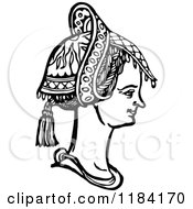 Clipart Of A Retro Vintage Black And White Medieval Woman And Headdress 4 Royalty Free Vector Illustration