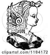 Clipart Of A Retro Vintage Black And White Medieval Woman And Headdress 6 Royalty Free Vector Illustration