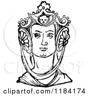 Clipart Of A Retro Vintage Black And White Medieval Woman And Headdress 2 Royalty Free Vector Illustration