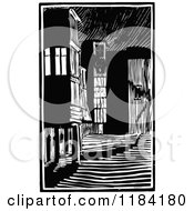 Clipart Of A Retro Vintage Black And White Architectural Alley Royalty Free Vector Illustration