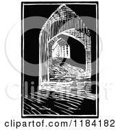 Clipart Of A Retro Vintage Black And White Architectural Alley 2 Royalty Free Vector Illustration