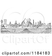 Clipart Of A Retro Vintage Black And White City Skyline Royalty Free Vector Illustration