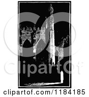 Clipart Of A Retro Vintage Black And White Chapel Royalty Free Vector Illustration