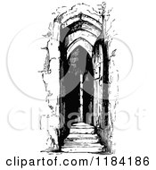 Clipart Of A Retro Vintage Black And White Belfry Door Royalty Free Vector Illustration by Prawny Vintage