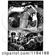 Clipart Of A Retro Vintage Black And White Man Reading By His Cabin Royalty Free Vector Illustration