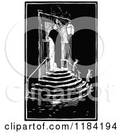 Clipart Of A Retro Vintage Black And White Architectural Entry With People On Stairs Royalty Free Vector Illustration by Prawny Vintage
