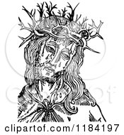 Clipart Of Retro Vintage Black And White Jesus Christ And Crown Of Thorns Royalty Free Vector Illustration