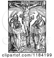 Clipart Of A Retro Vintage Black And White Christ Crucified With A Border Royalty Free Vector Illustration by Prawny Vintage