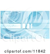 Blue Technology Background With Sound Waves Clipart Illustration