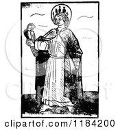 Clipart Of A Retro Vintage Black And White Saint And Hawk Royalty Free Vector Illustration