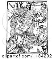 Clipart Of Retro Vintage Black And White Jesus Christ And Crown Of Thorns With A Border Royalty Free Vector Illustration