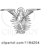 Clipart Of A Black And White Angel With Spanned Wings Royalty Free Vector Illustration