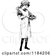Clipart Of A Retro Vintage Black And White Girl In An Apron Holding A Bowl Royalty Free Vector Illustration by Prawny Vintage