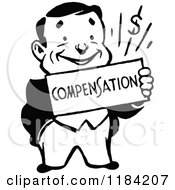 Clipart Of A Retro Black And White Man Holding A Compensation Sign Royalty Free Vector Illustration
