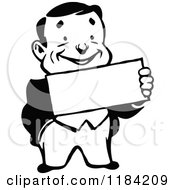 Clipart Of A Retro Black And White Man Holding A Sign Royalty Free Vector Illustration
