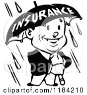 Clipart Of A Retro Black And White Man Holding An Insurance Umbrella In The Rain Royalty Free Vector Illustration by Prawny Vintage