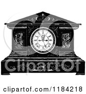 Clipart Of A Retro Vintage Black And White Mantle Clock Royalty Free Vector Illustration by Prawny Vintage